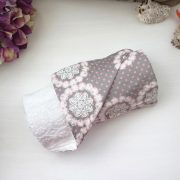 White Inabel with Gray Floral Dots