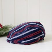 Newsboy Cap - navy & red stripes
