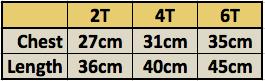 Ballerina Tee Size Chart