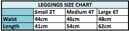 Leggings Size Chart